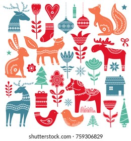 Christmas  hand drawn elements in Scandinavian style with ornament. Vector illustration