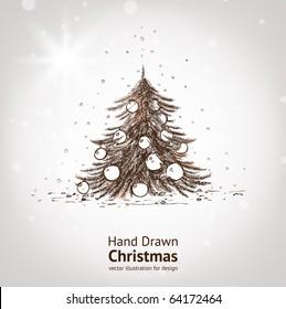 Christmas hand drawn fur tree for xmas design. With balls.