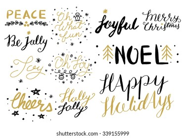 Christmas hand drawn holiday lettering collection
