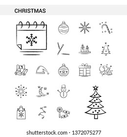 Christmas hand drawn Icon set style, isolated on white background. - Vector