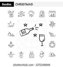 Christmas Hand Drawn Icons Set For Infographics, Mobile UX/UI Kit And Print Design. Include: Santa Clause, Santa, Christmas, Winters, Santa Clause, Santa, Collection Modern Infographic Logo and Pictog