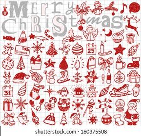 Christmas hand drawn icon's set