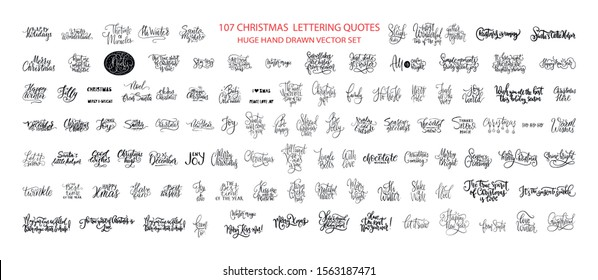 Christmas Hand Drawn Ink Lettering Vector Greeting Quotes. Merry Christmas and Happy New Year Big Textured Calligraphy Set. Xmas Typography Collection.