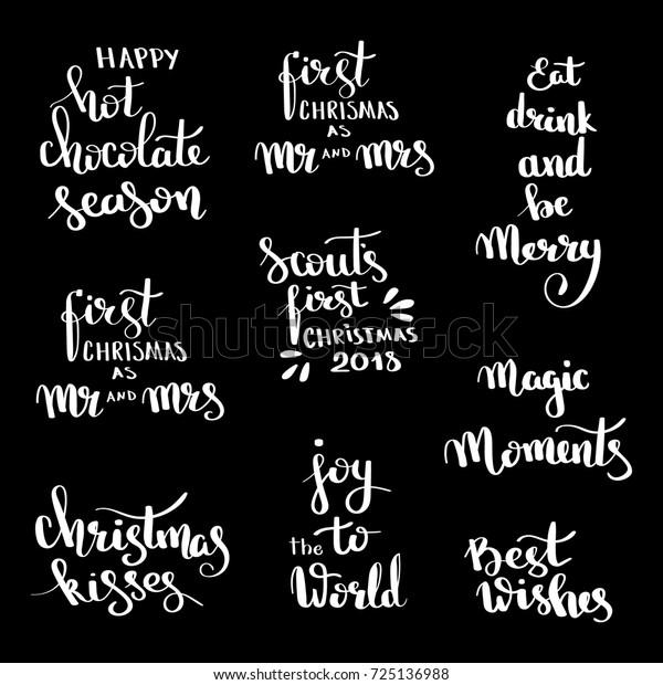 Christmas Hand Drawn Lettering Design Set Stock Vector