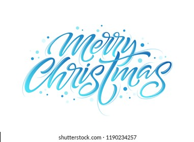 Christmas hand drawn lettering. Xmas calligraphy on white background. Christmas frozen lettering. Xmas icy calligraphy. Banner, postcard, poster design element. Isolated vector illustration