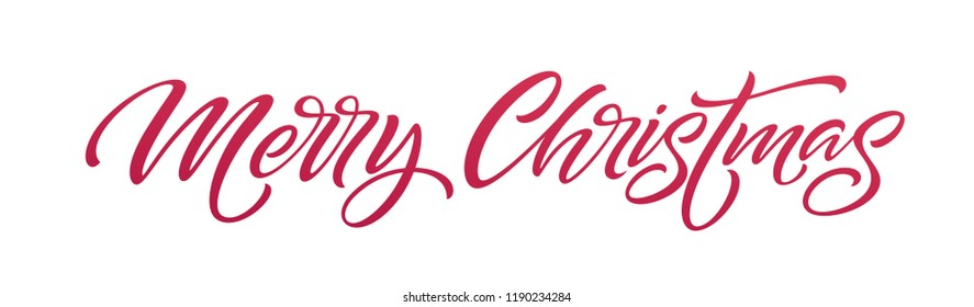 Christmas hand drawn lettering. Xmas calligraphy on white background. Christmas red, lettering. Xmas isolated calligraphy. Banner, postcard, poster design element. Vector illustration