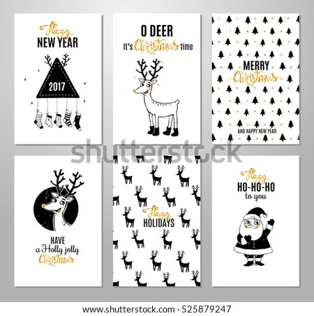 christmas hand drawn printable cards with deer santa christmas tree and lettering new
