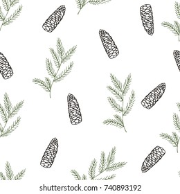 Christmas hand drawn seamless pattern. vector background. Xmas plants. Cones and  pine branches