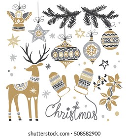 Christmas hand drawn set with Christmas tree branch, deer, balls and mittens. Vector illustration.