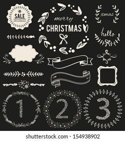 Christmas Hand Drawn Vector Set: Design Elements and Page Decoration, Vintage Ribbon, Laurel, Label