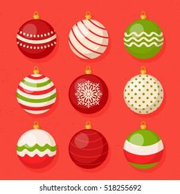 Christmas hanging ball vector collection set