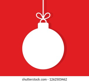 Christmas hanging bauble ornament on red background. Vector illustration.
