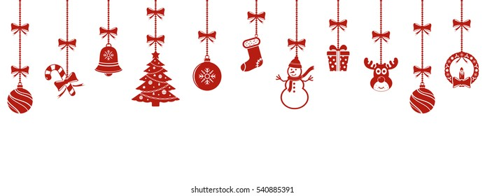 Christmas hanging ornaments isolated