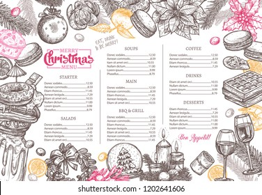 Christmas happy holiday layout of festive menu. Hand drawn and sketch design and template for restaurant and café. Vector illustration