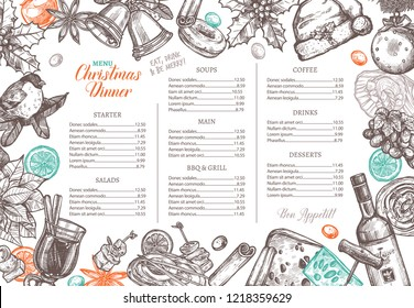 Christmas happy holiday layout of festive menu for festive dinner. Hand drawn and sketch design and template for restaurant and café. Vector illustration