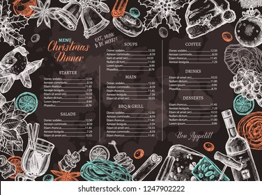 Christmas happy holiday layout of festive menu for festive dinner on chalkboard. Hand drawn and sketch design and template for restaurant and café. Vector illustration