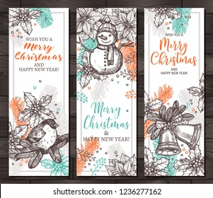 Christmas happy holiday vertical banners for web. Design for greeting cards with vector hand drawn sketch illustartion