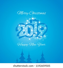 Christmas and Happy New Year 2019 blue firework greeting card design