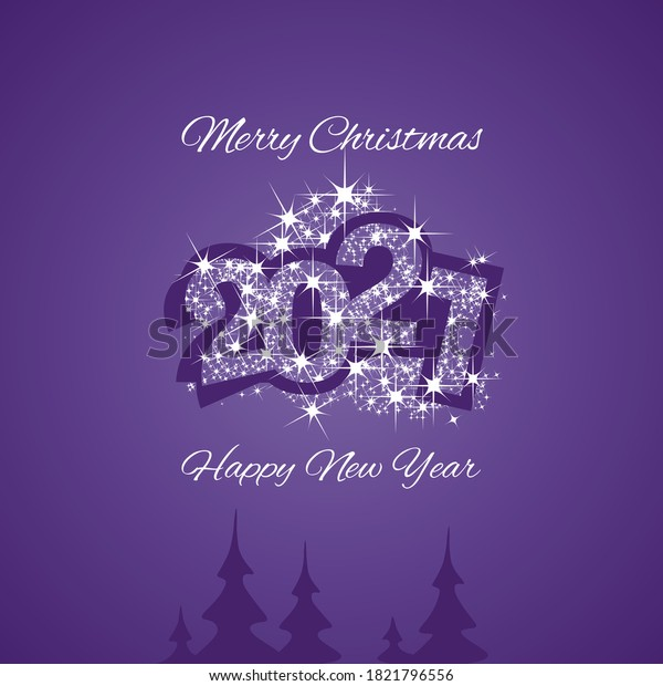 Christmas and Happy New Year 2021 purple firework greeting card design