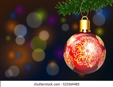 Christmas and Happy New Year background with spruce branch and christmas ball Vector Illustration