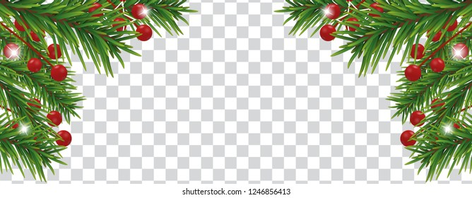 Christmas and happy New Year banner with Christmas tree branches and holly berries on transparent background. Holidays decoration. Vector illustration.
