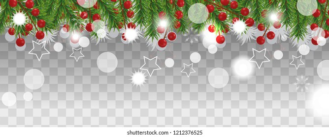 Christmas and happy New Year border of Christmas tree branches with holly berry on transparent background. Holidays decoration. Vector illustration.
