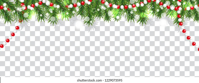 Christmas and happy New Year border of Christmas tree branches and beads on transparent background. Holidays decoration. Vector illustration.