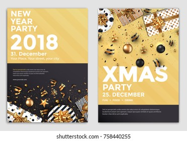 Christmas and Happy New Year Brochure Design Layout Template in A4 size with golden ornaments, gift boxes and snowflakes on dark backgroun. Abstract Modern Backgrounds, Party poster. Vector