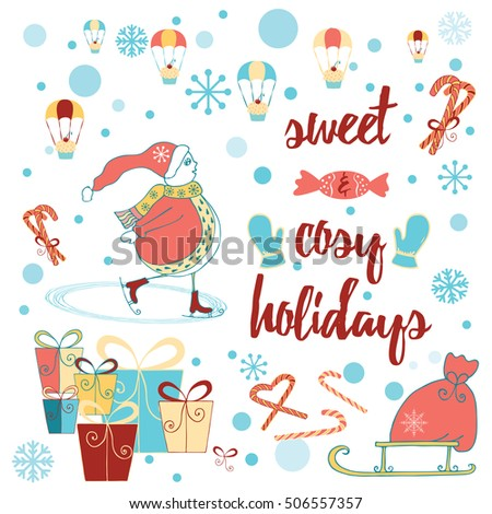 Christmas Happy New Year Card Snowman Stock Vector (Royalty Free ...