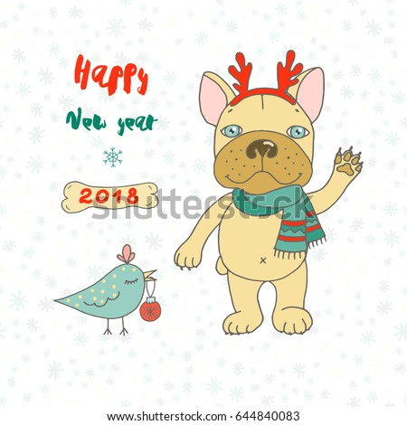 christmas and happy new year card with cute bird and bulldog wearing deer horn rim and