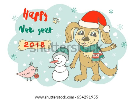 christmas and happy new year card with cute bird snowman and doggy have on santa