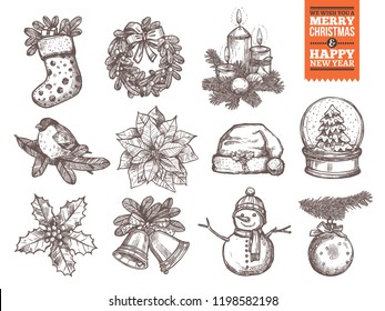 Christmas and happy New Year collection of sketch vector icons. Festive and holiday hand drawn elements: sock with gifts and fir wreath, bullwinch on branch, poinsettia star and holly, santa hat