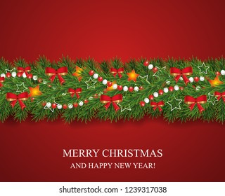 Christmas and happy New Year garland and border of realistic looking Christmas tree branches decorated with red bows, stars and beads. Horizontal vector illustration.