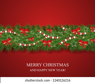 Christmas and happy New Year garland and border of realistic looking Christmas tree branches decorated with red bows, white stars and beads. Horizontal vector illustration.