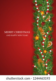 Christmas and happy New Year garland and border of realistic looking Christmas tree branches decorated with Berries, stars and Gingerbread cookies, beads.  Vertical background. Vector illustration.