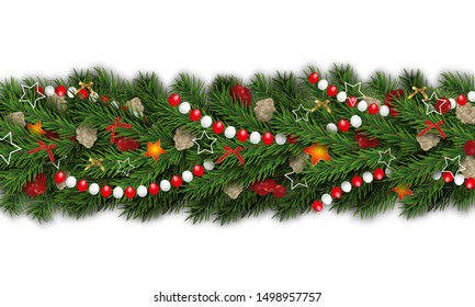 Christmas and happy New Year garland and border isolated on white background 3d realistic looking Christmas tree branches decorated holly berries, cones, bows, stars and beads. Vector illustration.