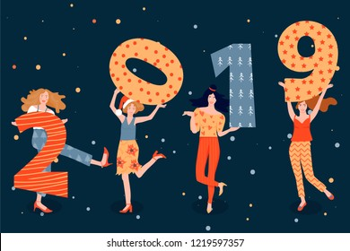 Christmas and Happy New Year greeting card with dancing girls and figures with 2019 year. Womens invite and celebrate the coming of the New Year. Vector illustration for postcard, poster, invitation.