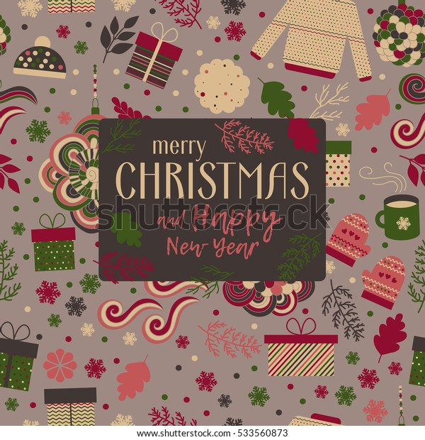 Christmas and Happy New Year greeting card, invitation with cute pattern in vector. Red and green gifts, mittens, caps, branches and snowflakes, and text.