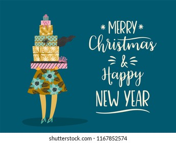 Christmas and Happy New Year illustration. Trendy retro style. Vector design template.