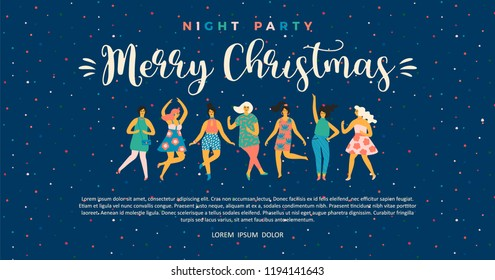 Christmas and Happy New Year illustration with dancing women. Trendy retro style. Vector design template.