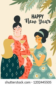Christmas and Happy New Year illustration young women drinking champagne. Trendy retro style. Vector design template.