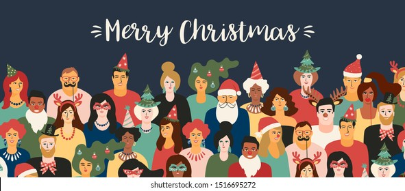 Christmas and Happy New Year illustration with people in carnival costumes. Trendy retro style. Vector design template.