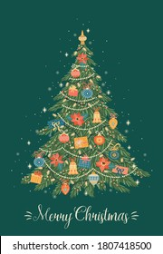Christmas and Happy New Year illustration of Christmas tree. Trendy retro style. Vector design template.