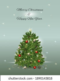 Christmas and Happy New Year illustration of Christmas tree.