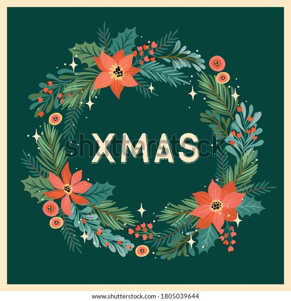 Christmas and Happy New Year illustration with Christmas wreath. Trendy retro style. Vector design template.