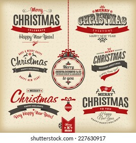 Christmas and happy new year lettering.Type composition.