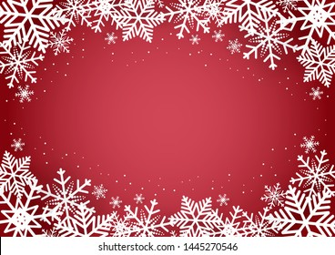 Christmas and happy new year red vector background with snowflake, celebration concept, paper art design