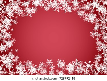 Christmas or happy new year red vector background with white snowflake