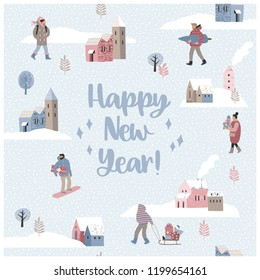 Christmas and Happy New Year seamless illustration whit winter landscape. Trendy retro style. Vector design template.