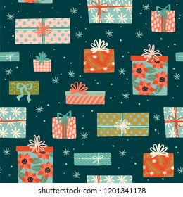 Christmas and Happy New Year seamless pattern with gift boxes. Trendy retro style. Vector design template.